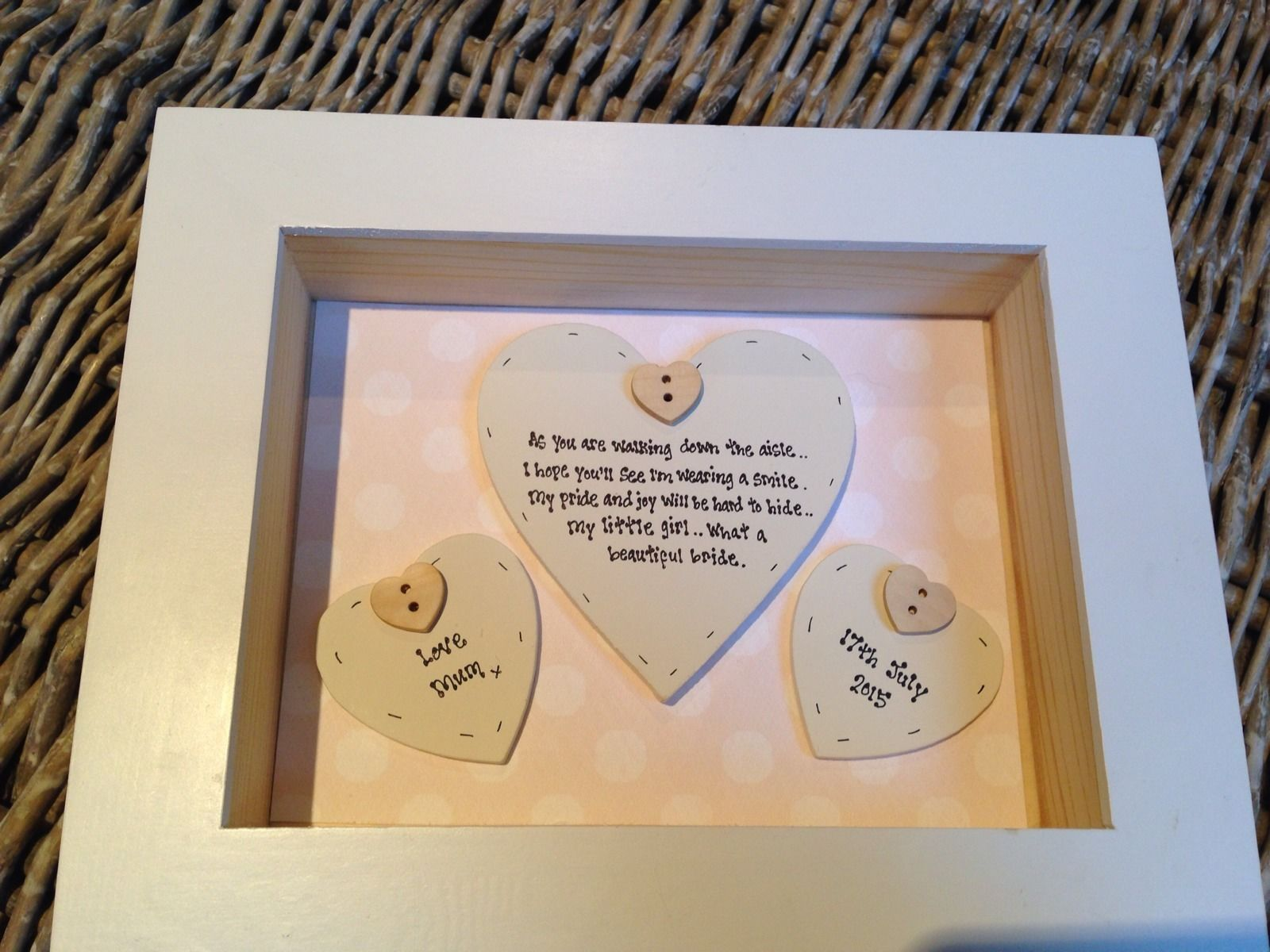 Shabby Personalised Chic Box Frame Gift For Daughter On Her Wedding Day Mum Mom